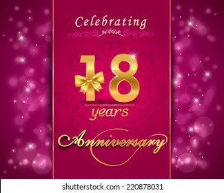 18 year anniversary celebration sparkling card, 18th anniversary vibrant background -  vector eps10