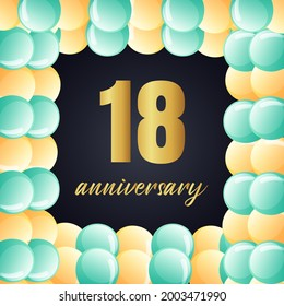 18 year anniversary celebration, vector design for celebrations, invitation cards and greeting cards