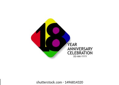18 year anniversary, minimalist logo years, jubilee 4 colors Black, red, yellow, green and purple, greeting card. invitation - Vector