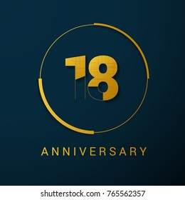 18 Year Anniversary Vector Logo Design Isolated on Dark Background