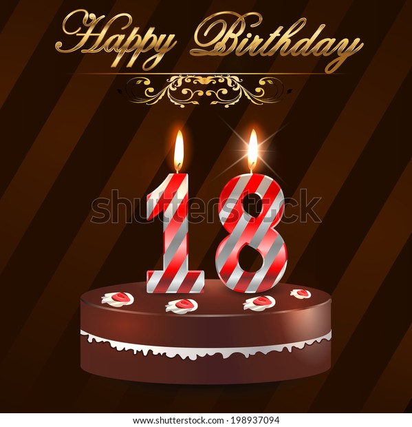 Amazing 18 Year Happy Birthday Card Cake Stock Vector Royalty Free 198937094 Funny Birthday Cards Online Fluifree Goldxyz