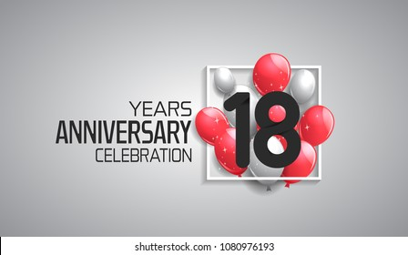 18 years anniversary celebration for company with balloons in square isolated on white background