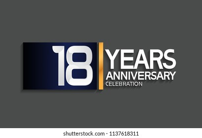 18 years anniversary celebration design with blue square and golden line isolated on gray background