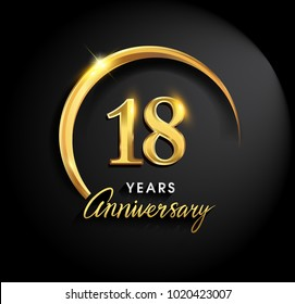 18 years anniversary celebration. Anniversary logo with ring and elegance golden color isolated on black background, vector design for celebration, invitation card, and greeting card