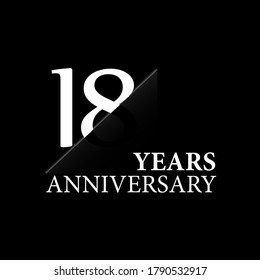 18 years anniversary celebration logo design. white cut style isolated
