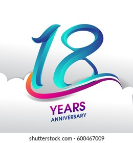 18 Years Anniversary celebration logo, birthday vector design
