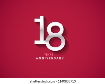 18 years anniversary celebration logotype with silver color isolated on Red background