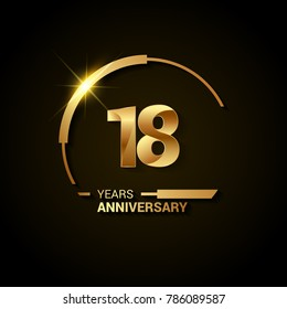 18 Years Anniversary Celebration Logotype. Golden Elegant Vector Illustration with Half Circle, Isolated on Black Background can be use for Celebration, Invitation, and Greeting card