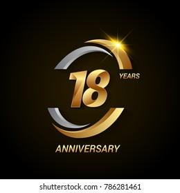 18 Years Anniversary Celebration Logotype. Golden Elegant Vector Illustration with Swoosh, Isolated on Black Background can be use for Celebration, Invitation, and Greeting card