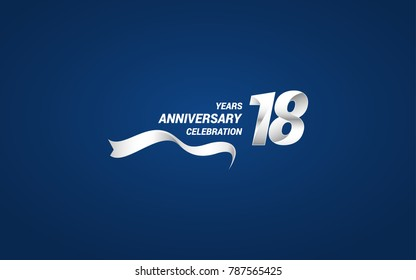 18 Years Anniversary celebration logotype white colored, using ribbon and isolated on blue background