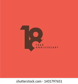 18 Years Anniversary Celebration Vector Template Design Illustration