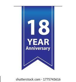 18 Years Anniversary Celebration Vector Template Design Illustration