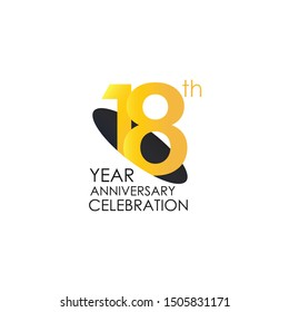 18 years anniversary celebration Yellow Color Design logotype. anniversary logo isolated on White background, vector Horizontal number design for celebration, invitation card, and greeting - Vector