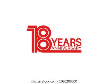 18 years anniversary design with red multiple line style isolated on white background for celebration