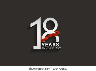 18 years anniversary design with silver color and red ribbon isolated on black background for celebration event
