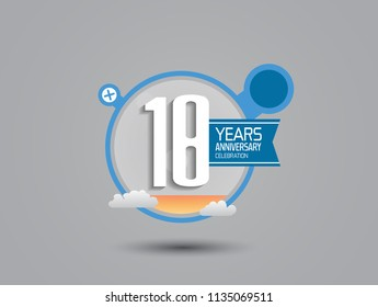 18 years anniversary illustration style with blue circle, orange fluid and cloud for party celebration event