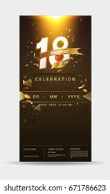 18 years anniversary invitation card - shiny gold celebration template design ,vector illustration