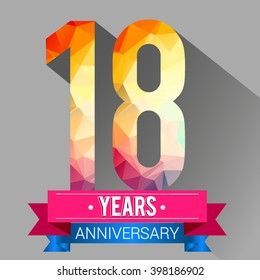 18 Years Anniversary logo. with colorful polygonal.