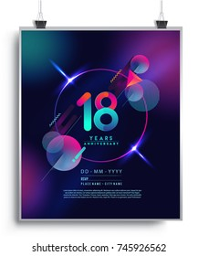 18 Years Anniversary Logo with Colorful Galactic background, Vector Design Template Elements for Invitation Card and Poster Your Birthday Celebration.