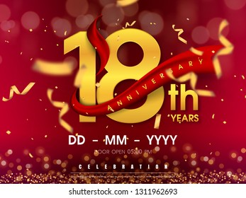18 years anniversary logo template on gold background. 18th celebrating golden numbers with red ribbon vector and confetti isolated design elements
