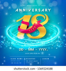 18 years anniversary logo template on blue Abstract futuristic space background. 18th modern technology design celebrating numbers with Hi-tech network digital technology concept design elements.