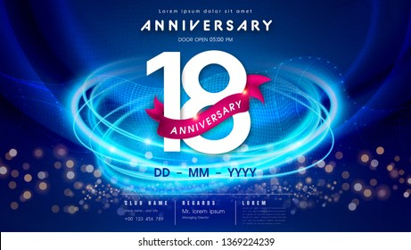 18 years anniversary logo template on dark blue Abstract futuristic space background. 18th modern technology design celebrating numbers with Hi-tech network digital technology concept design elements.