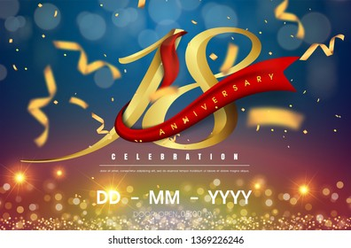 18 years anniversary logo template on gold and blue background. 18th celebrating golden numbers with red ribbon vector and confetti isolated design elements