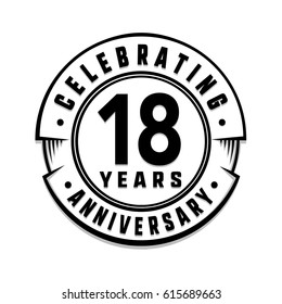 18 years anniversary logo template. Vector and illustration.