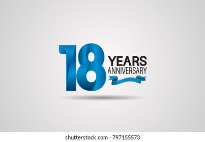 18 years anniversary logotype design with blue color and ribbon isolated on white background for celebration event