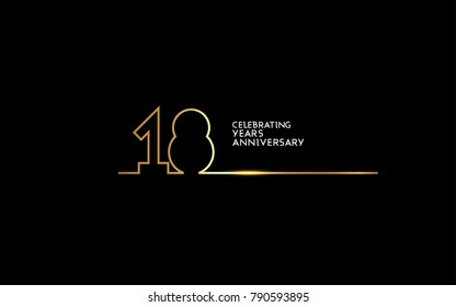 18 Years Anniversary logotype with golden colored font numbers made of one connected line, isolated on black background for company celebration event, birthday