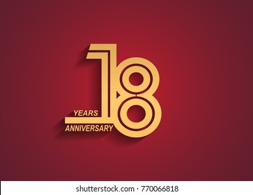 18 years anniversary logotype with linked number golden color isolated on red background for celebration event