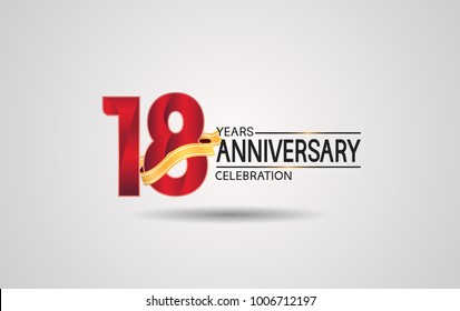 18 years anniversary logotype with red color and golden ribbon isolated on white background for celebration event
