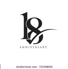18 years anniversary pictogram vector icon, simple years birthday logo label, black and white stamp isolated