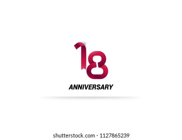 18 Years Anniversary Red ribbon form number font. isolated on white background.