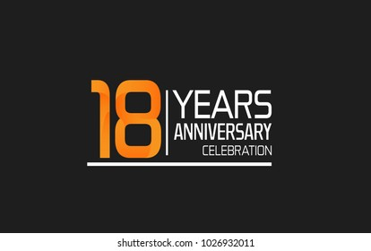 18 years anniversary simple design celebration with orange color and white isolated on black background
