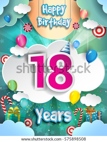 18 Years Birthday Design For Greeting Cards And Poster With Clouds Gift Box