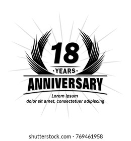 18 years design template. Anniversary vector and illustration template.