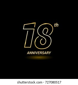 18 years golden line anniversary celebration logo design