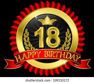 18 years happy birthday golden label with ribbons, vector illustration