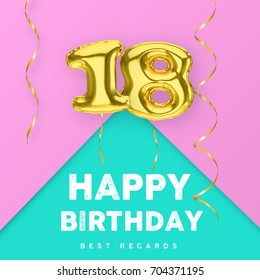 18 years old happy birthday pink girly vector banner with gold balloon 3d numbers and ribbon