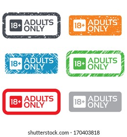 18 years old sign. Adults content only icon. Retro Stamps and Badges. Vector