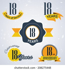 18 years of service/ 18 years / Celebrating 18 years / 18th Anniversary - Set of Retro vector Stamps and Seal for business