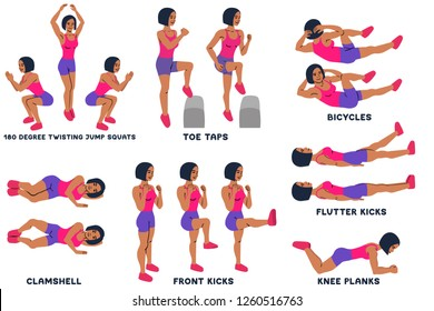 180 degree twisting jump squats. Toe taps. Bicycles. Clamshell. Front kicks. Knee planks. Sport exersice. Silhouettes of woman doing exercise. Workout, training Vector illustration