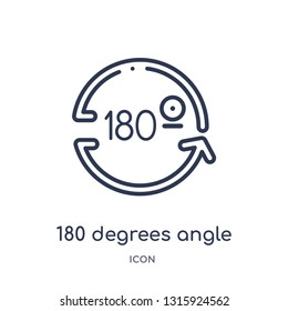 180 degrees angle icon from shapes outline collection. Thin line 180 degrees angle icon isolated on white background.