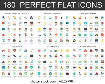 180 modern flat icon set of Legal law justice, banking finance, economics market, insurance, e commerce, cyber security icons.