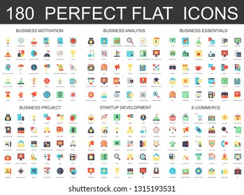 180 modern flat icons set of business analysis and motivation, essentials, startup development, e commerce and finance project icons.