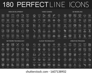 180 modern thin line icons set on dark black background. Web development, video games, 3d modeling, network technology, cloud data technology, creative process isolated