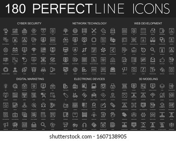 180 modern thin line icons set on dark black background. Cyber security, network technology, web development, digital marketing, electronic devices, 3d modeling isolated