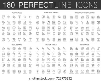 180 modern thin line icons set of household, home appliances, building construction, real estate, design tools, insurance.