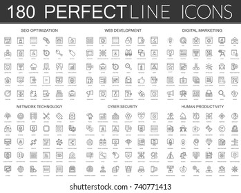 180 modern thin line icons set of seo optimization, web development, digital marketing, network technology, cyber security, human productivity.